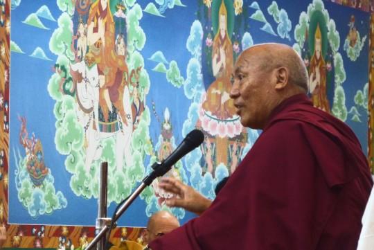 Geshe Lhakdor teaching at Tushita on Choekor Duchen, July 2014. Photo courtesy of Tushita Meditation Centre.