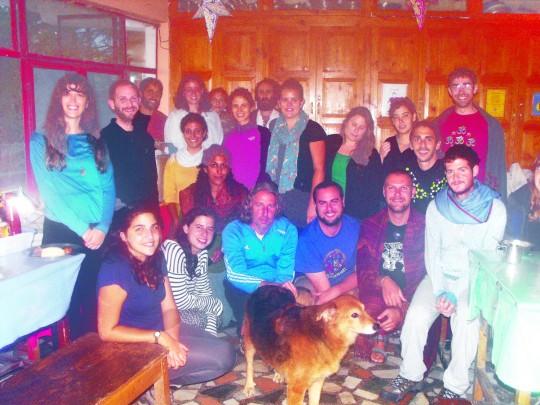 Israeli guests celebrating Yom Kippur, October 2014. Photo courtesy of Tushita Meditation Centre.