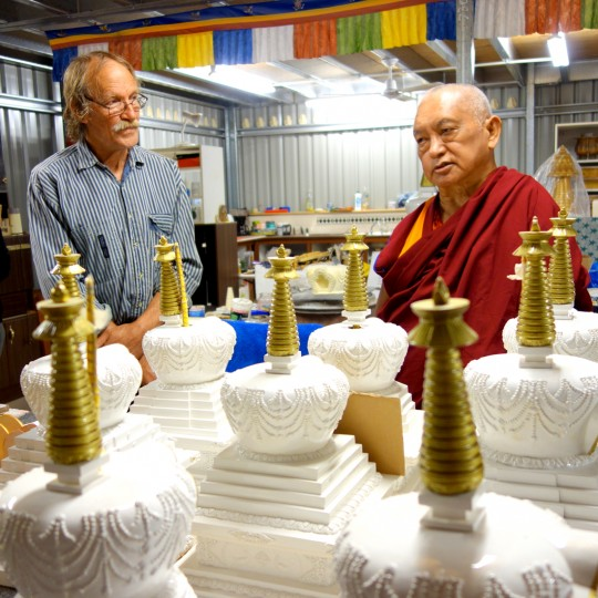 Lama Zopa Rinpche with Garrey Foulkes in the recently completed art studio at Chenrezig Institute, Eudlo, Queensland, Australia, September 2014. Photo by Ven. Roger Kunsang.