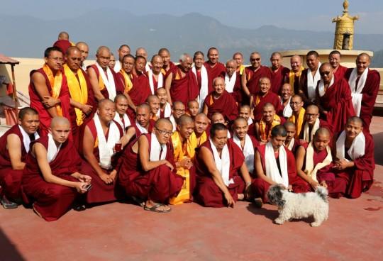 Lama Zopa Rinpoche with some of the senior Kopan monks, Kopan Monastery, December 2, 2014. Photo by Ven. Roger Kunsang.