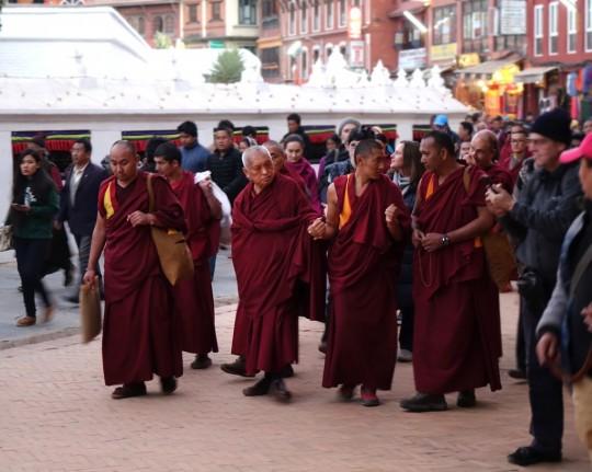 Lama Zopa Rinpoche doing korwa at Boudhanath Stupa, Kathmandu, Nepal, December 2014. Photo by Ven. Roger Kunsang.