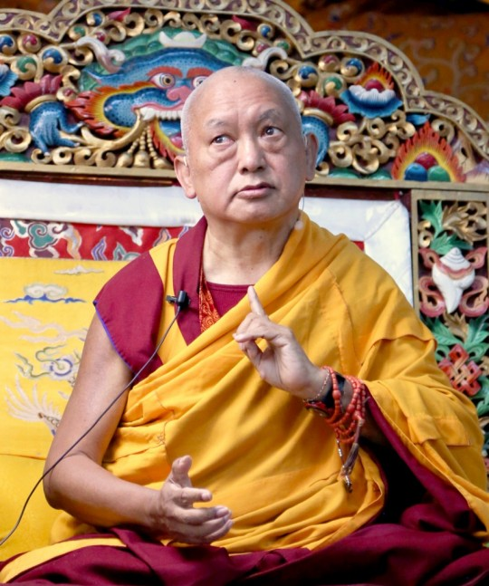 Lama Zopa Rinpoche teaching during the November Course at Kopan Monastery, December 2014. Photo by Ven. Thubten Kunsang.