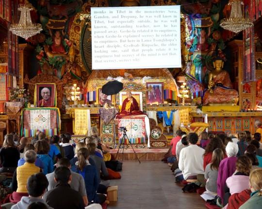 Lama Zopa Rinpoche teaching at the November course at Kopan Monastery, Nepal, December 2014. Photo by Ven. Roger Kunsang.