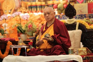 Lama Zopa Rinpoche during the long life puja offered to him at ABC, November 23, 2014.