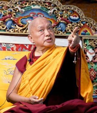 Lama Zopa Rinpoche teaching at Kopan Monastery, Nepal, December 2014. Photo by Ven. Thubten Kunsang.