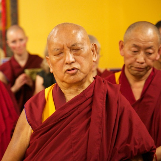 Lama Zopa Rinpoche at the Great Stupa of Universal Compassion Exhibit Hall, October 2014. Photo by Steve Alberts.