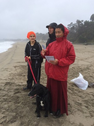 Sangha and students braved the cold Winter beach weather to bless beings in the ocean. Photo by Troy Stafford.