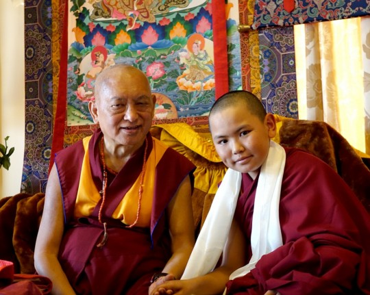 Lama Zopa Rinpoche with Phuntsok Rinpoche after the long life puja for Lama Zopa Rinpoche at Kopan Monastery, Nepal, December 2014. Photo by Ven. Roger Kunsang.