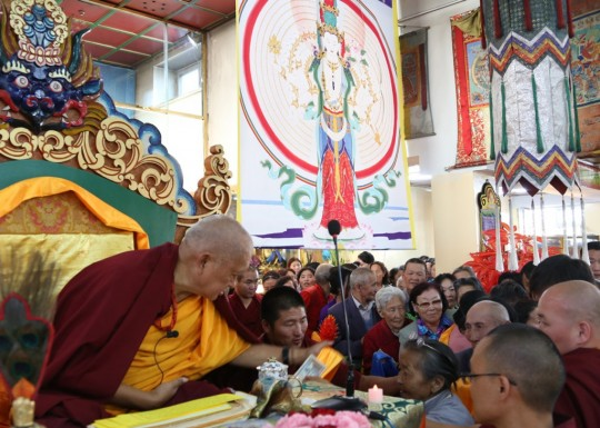 Lama Zopa Rinpoche after teaching in Ulaanbaatar, Mongolia, August 2014. Photo by Ven. Thubten Kunsang.