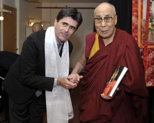 His Holiness the Dalai Lama with Tim McNeill, Boston, Mass., US, October 20, 2014. Photo by Sonam Zoksang.