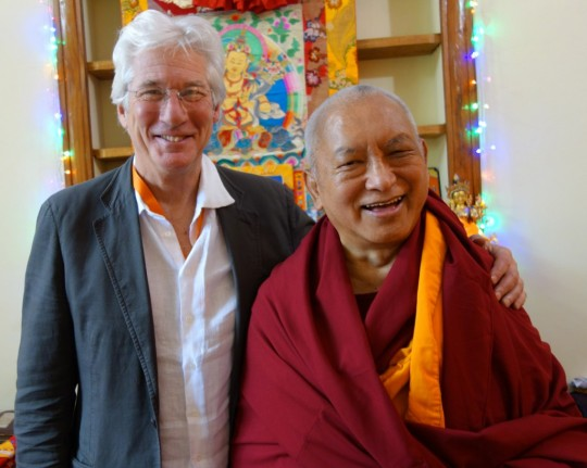 Lama Zopa Rinpoche with Richard Gere, Gaden Monastery, Mundgood, India, December 2014. Photo by Ven. Roger Kunsang.