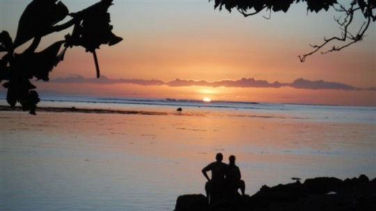 Sunset at Fare Mahora, Tahiti, September 2014. Photo courtesy of Centre Naropa Tahiti.