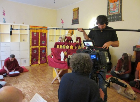 Austrian television crew filming Panchen Losang Chogyen's animal liberation, October 2014. Photo courtesy of Panchen Losang Chogyen.