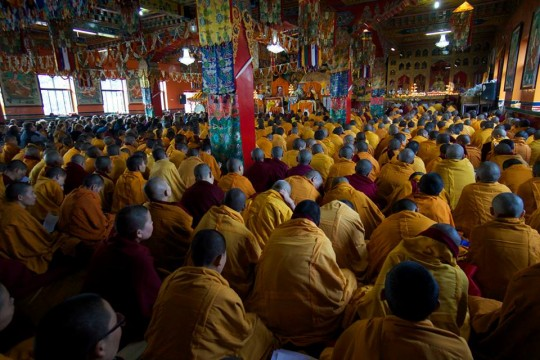The Kopan gompa was packed with participants in the long life puja for Lama Zopa Rinpoche. Photo by Bill Kane.