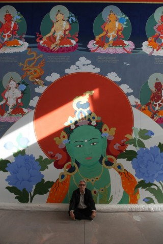Artist Peter Iseli with the amazing 21 Tara thangka.