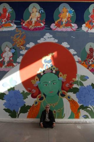 Artist Peter Iseli with the amazing 21 Tara thangka.
