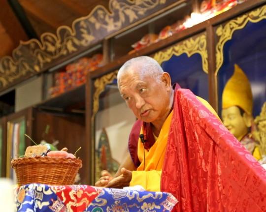 Lama Zopa Rinpoche teaching at Istituto Lama Tzong Khapa, Italy, June 2014. Photo by Ven. Thubten Kunsang.