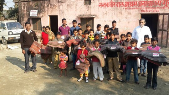 Blankets were offered to 30 children in a local Kushinagar orphanage by Maitreya Project Kushinigar.
