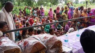 Mosquito nets were distributed to villagers.