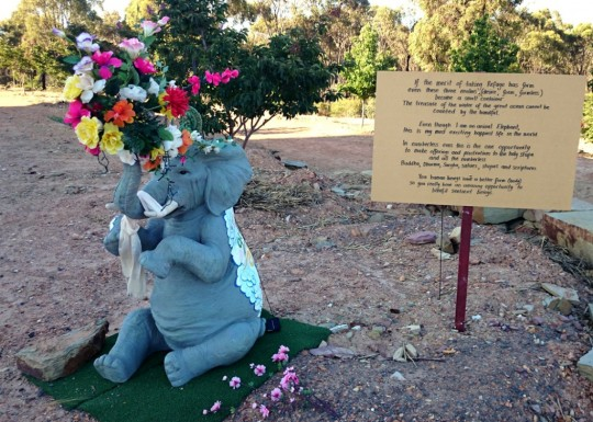 Elephant statue with mantras offering to Great Stupa of Universal Compassion, Bendigo, Australia, November 2014. Photo by Ven. Roger Kunsang.