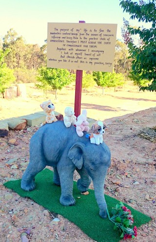 Elephant statue with mantras offering to Great Stupa of Universal Compassion, Bendigo, Australia, December 2014. Photo by Ven. Tenzin Namgyal.