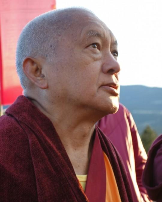 Lama Zopa Rinpoche, Buddha Amitabha Pure Land, July 2014. Photo by Ven. Roger Kunsang.