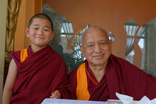 Lama Zopa Rinpoche with Lama Jamyang Garpo. Photo by Ven. Roger Kunsang, September 2014.