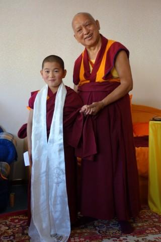 Lama Zopa Rinpoche with Lama Jamyang Garpo. Photo by Ven. Roger Kunsang, September 2014.