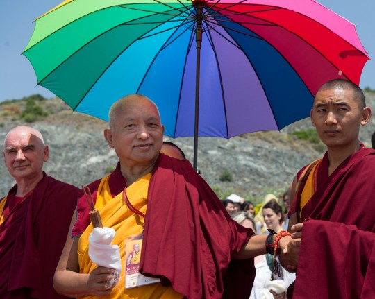 Lama Zopa Rinpoche with Ven. Roger Kunsang and Ven. Sangpo, Italy, June 2014. Photo by Matteo Passigato.