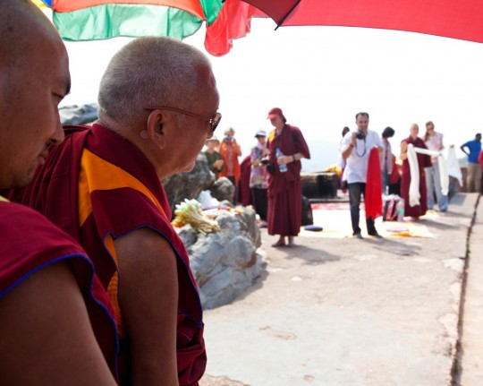 Lama Zopa Rinpoche at Vulture Peak, India, March 2014. Photo by Andy Melnic.