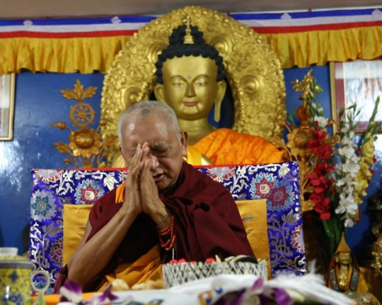 Lama Zopa Rinpoche at Tushita Mahayana Meditation Centre, New Dehli, India, January 2015. Photo courtesy of Tushita Mahayana Meditation Centre's Facebook page.