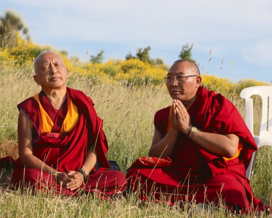 Lama Zopa Rinpoche and Dagri Rinpoche near Istituto Lama Tzong Khapa, Pomaia, Italy, June 2014. Photo by Ven. Thubten Kunsang.