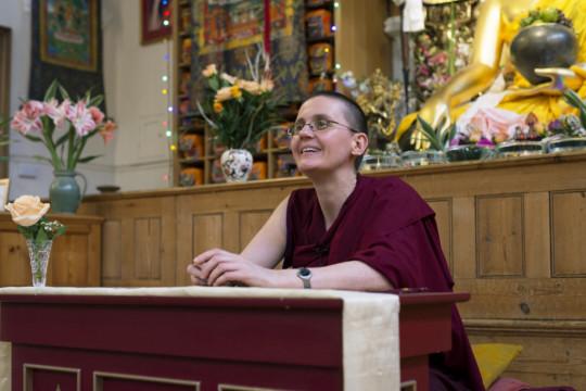 Geshe Kelsang Wangmo teaching at Jamyang Buddhist Centre London, November 2014. Photo by Natascha Sturny.