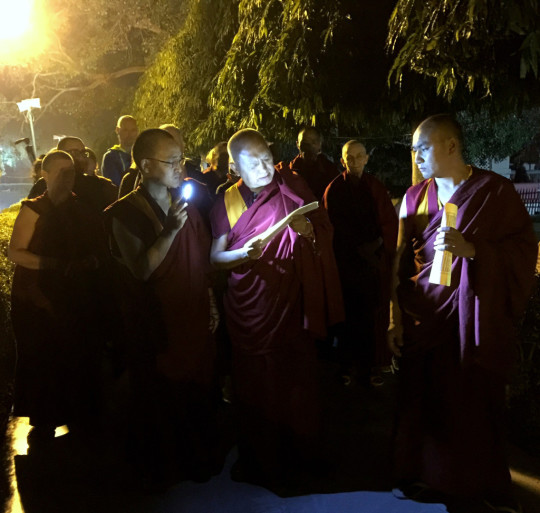 Lama Zopa Rinpoche reading Lekshe Nyingpo while circumambulating the Mahabodhi Stupa, Bodhgaya, India, February 2015. Photo by Ven. Roger Kunsang.