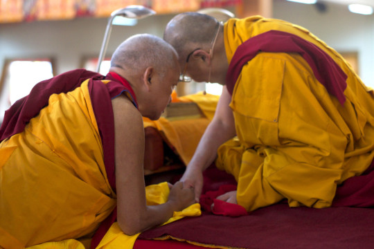 Lama Zopa Rinpoche making a request to His Holiness the Dalai Lama during the Jangchup Lamrim teachings, South India, December 2014. Photo by Bill Kane.
