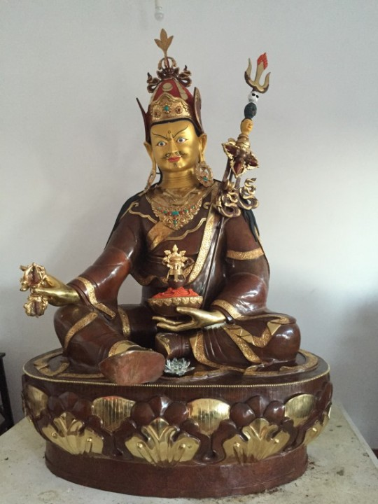 The newly completed 6.5 ft Padmasambhava statue at Osel Ling, Spain.