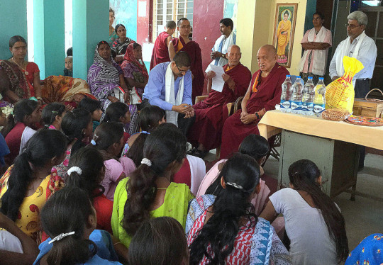 Lama Zopa Rinpoche talks to staff and patients of Shakyamuni Buddhist Health Care Centre, Root Institute, Bodhgaya, India, March 2015. Photo by Ven. Sarah Thresher.