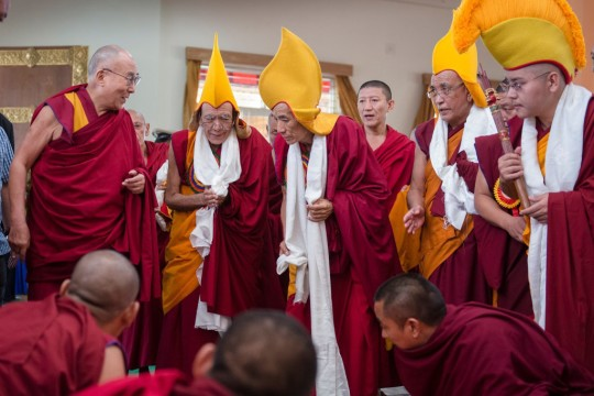 His Holiness the Dalai Lama meeting with senior monks on his arrival at Gaden Monastery in Mundgod, Karnataka, India on December 22, 2014. (Photo by Tenzin Choejor/OHHDL)