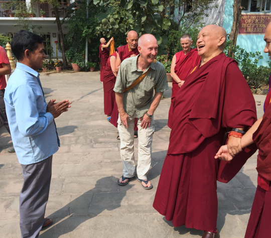 Frank Brock introduced to Lama Zopa Rinpoche the oldest worker at Root Institute, who has been working at Root Institute since he was a boy, Bodhgaya, India, February 2015. Photo by Ven. Roger Kunsang.