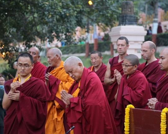 Lama Zopa Rinpoche at the Mahabodhi Stupa in Bodhgaya, India, February 2015. Photo by Ven. Thubten Kunsang.