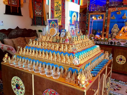 Lama Zopa Rinpoche designed this altar that surrounds a support pillar in his room at Root Institute, Bodhgaya, India, March 2015. Photo by Ven. Sarah Thresher.