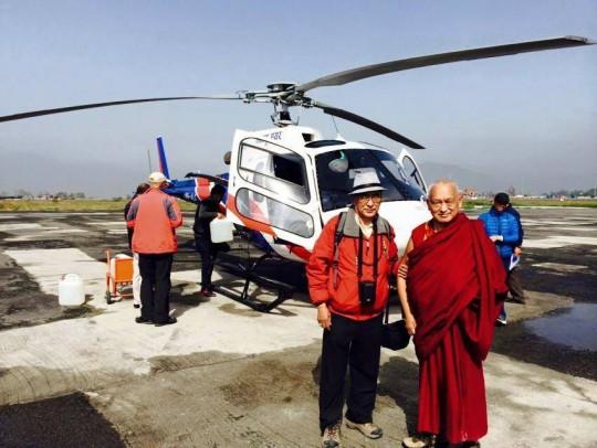 Lama Zopa Rinpoche and his brother Sangay Sherpa at the Kathmandu airport before flying up to Lawudo, Nepal, April 2015. Photo by Ven. Lobsang Sherab.