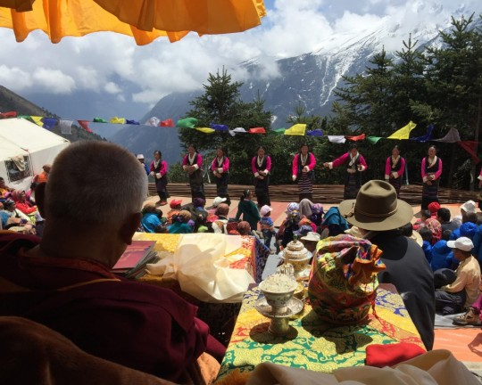 Sherpa women offering dance to Rinpoche, Lawudo, Nepal, April 2015. Photo by Ven. Roger Kunsang.