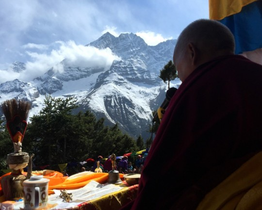 Lama Zopa Rinpoche at Lawudo, Solu Khumbu, Nepal, April 2015. Photo by Ven. Roger Kunsang.