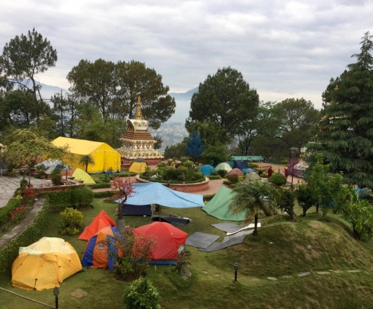 Tents around the stupa at Kopan Monastery following the earthquake.