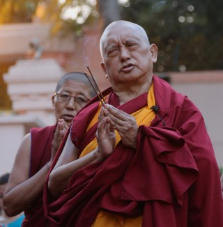 Lama Zopa Rinpoche in Root Institute in Feb 2015. Photo by Ven.Thubten Kunsang