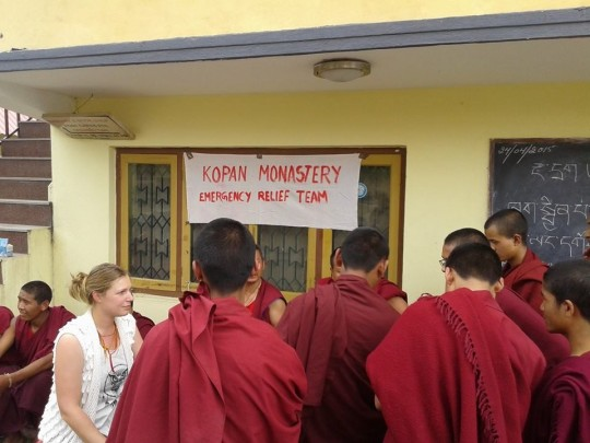 An emergency relief team was established at Kopan Monastery immediately following the earthquake.