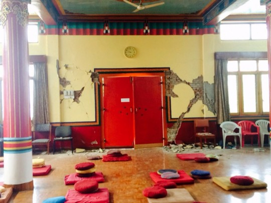 Damage to Chenrezig gompa at Kopan Monastery, Nepal, April 27 2015