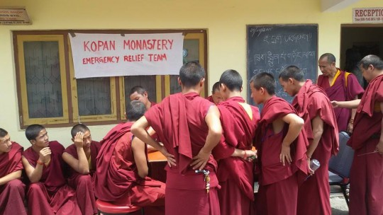 Kopan monks involved in emergency relief, Kopan Monastery, Nepal, April 27, 2015