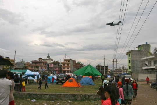 Tent city were Animal Liberation Sanctuary manager Pema and his family are camped out, Kathmandu, Nepal, April 28, 2015. Photo by Phil Hunt.